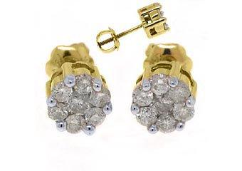 1/2 CARAT BRILLIANT ROUND CUT CLUSTER SHAPE DIAMOND STUD EARRINGS YELLOW GOLD