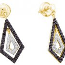 WOMENS .58 CARAT BLACK DIAMOND DANGLE EARRINGS ROUND CUT PAVE YELLOW GOLD