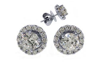 1.25 CARAT BRILLIANT ROUND CUT DIAMOND STUD HALO EARRINGS 18K WHITE GOLD