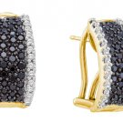 WOMENS 1.52 CARAT BLACK DIAMOND HOOP EARRINGS ROUND CUT PAVE 14KT YELLOW GOLD