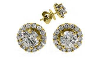 1.25 CARAT BRILLIANT ROUND CUT DIAMOND STUD HALO EARRINGS 18K YELLOW GOLD
