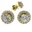 1.25 CARAT BRILLIANT ROUND CUT DIAMOND STUD HALO EARRINGS 18K YELLOW GOLD