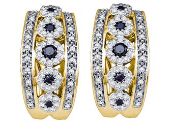 WOMENS .80 CARAT BLACK DIAMOND HOOP EARRINGS ROUND CUT PAVE 10KT YELLOW GOLD