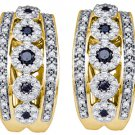 WOMENS .80 CARAT BLACK DIAMOND HOOP EARRINGS ROUND CUT PAVE 10KT YELLOW GOLD