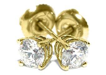 4/5 CARAT BRILLIANT ROUND CUT DIAMOND STUD EARRINGS 14K YELLOW GOLD SI
