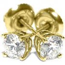 4/5 CARAT BRILLIANT ROUND CUT DIAMOND STUD EARRINGS 14K YELLOW GOLD SI