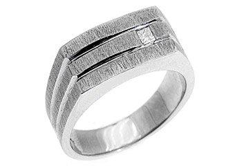 MENS 1/10 CARAT PRINCESS SQUARE CUT DIAMOND RING WEDDING BAND 14KT WHITE GOLD