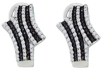 WOMENS .94 CARAT BLACK DIAMOND HOOP EARRINGS ROUND CUT PAVE 10KT WHITE GOLD
