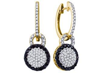 WOMENS .52 CARAT BLACK DIAMOND DANGLE EARRINGS ROUND CUT PAVE YELLOW GOLD
