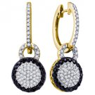 WOMENS .52 CARAT BLACK DIAMOND DANGLE EARRINGS ROUND CUT PAVE YELLOW GOLD