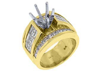 3.45 CARAT WOMENS DIAMOND ENGAGEMENT RING SEMI-MOUNT PRINCESS CUT YELLOW GOLD