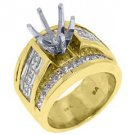 3.45 CARAT WOMENS DIAMOND ENGAGEMENT RING SEMI-MOUNT PRINCESS CUT YELLOW GOLD