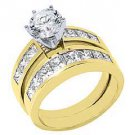 3 CARAT WOMENS DIAMOND ENGAGEMENT RING WEDDING BAND BRIDAL SET ROUND YELLOW GOLD