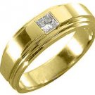 MENS 1/3 CARAT SOLITAIRE PRINCESS CUT DIAMOND RING WEDDING BAND 14KT YELLOW GOLD
