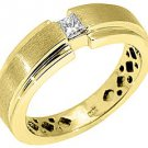 MENS 1/3 CARAT SOLITAIRE SQUARE CUT DIAMOND RING WEDDING BAND 14KT YELLOW GOLD