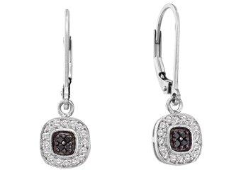 WOMENS .25 CARAT BLACK DIAMOND DANGLE EARRINGS ROUND CUT PAVE WHITE GOLD