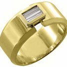 MENS 1/3 CARAT BAGUETTE CUT DIAMOND RING WEDDING BAND 14KT YELLOW GOLD