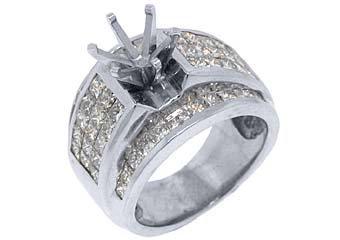 3.18 CARAT WOMENS DIAMOND ENGAGEMENT RING SEMI-MOUNT PRINCESS CUT WHITE GOLD