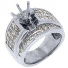 3.18 CARAT WOMENS DIAMOND ENGAGEMENT RING SEMI-MOUNT PRINCESS CUT WHITE GOLD