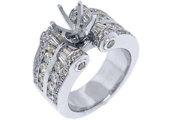 2.78 CARAT WOMENS DIAMOND ENGAGEMENT RING SEMI-MOUNT ROUND CUT WHITE GOLD