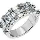 2.5CT WOMENS PRINCESS BAGUETTE ROUND CUT DIAMOND RING WEDDING BAND WHITE GOLD