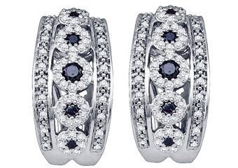WOMENS .80 CARAT BLACK DIAMOND HOOP EARRINGS ROUND CUT PAVE 10KT WHITE GOLD