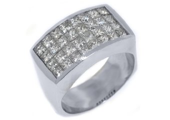 MENS 3.68 CARAT PRINCESS SQUARE CUT DIAMOND RING WEDDING BAND 18KT WHITE GOLD