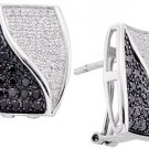 WOMENS 1 CARAT BLACK DIAMOND HOOP EARRINGS ROUND CUT PAVE 14KT WHITE GOLD