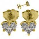 2/3 CARAT HEART SHAPE ROUND PRINCESS SQUARE DIAMOND STUD EARRINGS YELLOW GOLD