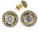 1.78 CARAT BRILLIANT ROUND CUT DIAMOND STUD HALO EARRINGS 18K YELLOW GOLD