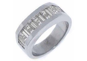 MENS 2.78 CARAT PRINCESS BAGUETTE CUT DIAMOND RING WEDDING BAND 18KT WHITE GOLD