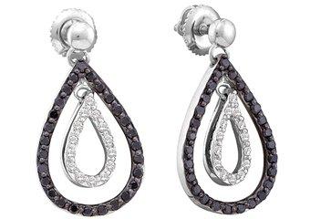 WOMENS .78 CARAT BLACK DIAMOND DANGLE TEAR EARRINGS ROUND CUT PAVE WHITE GOLD