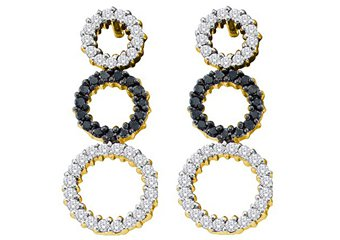 WOMENS .78 CARAT BLACK DIAMOND DANGLE CIRCLE EARRINGS ROUND CUT PAVE YELLOW GOLD