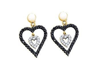 WOMENS .58 CARAT BLACK DIAMOND DANGLE EARRINGS HEART SHAPE PAVE YELLOW GOLD