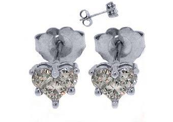 2/3 CARAT HEART SHAPE ROUND PRINCESS SQUARE DIAMOND STUD EARRINGS WHITE GOLD