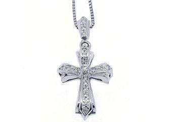 .78 Carat Diamond Cross Pendant 14KT White Gold Brilliant Round Cut