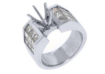 2.02 CARAT WOMENS DIAMOND ENGAGEMENT RING SEMI-MOUNT PRINCESS CUT WHITE GOLD