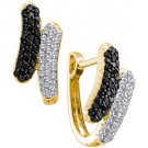 WOMENS .50 CARAT BLACK DIAMOND HOOP EARRINGS ROUND CUT PAVE 14KT YELLOW GOLD