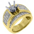 3.18 CARAT WOMENS DIAMOND ENGAGEMENT RING SEMI-MOUNT PRINCESS CUT YELLOW GOLD
