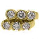 WOMENS 1.68 CARAT ROUND CUT 3 STONE DIAMOND HOOP EARRINGS YELLOW GOLD