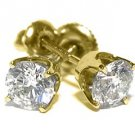 1.5 CARAT BRILLIANT ROUND CUT DIAMOND STUD EARRINGS 14KT YELLOW GOLD