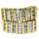 WOMENS 1 CARAT ROUND BAGUETTE CUT CHANNEL SET DIAMOND HOOP EARRINGS YELLOW GOLD