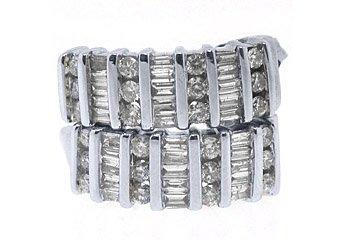 WOMENS 1 CARAT ROUND BAGUETTE CUT CHANNEL SET DIAMOND HOOP EARRINGS WHITE GOLD