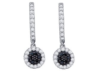 WOMENS .49 CARAT BLACK DIAMOND DANGLE EARRINGS ROUND CUT PAVE WHITE GOLD