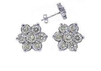 1.44 CARAT BRILLIANT ROUND CUT FLOWER SHAPE DIAMOND STUD EARRINGS 14K WHITE GOLD