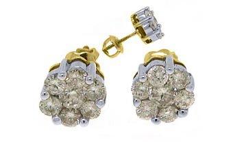 1 CARAT BRILLIANT ROUND CUT CLUSTER SHAPE DIAMOND STUD EARRINGS 14KT YELLOW GOLD