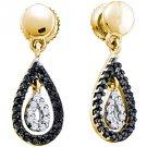 WOMENS .34 CARAT BLACK DIAMOND DANGLE EARRINGS TEAR ROUND CUT PAVE YELLOW GOLD
