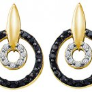 WOMENS .63 CARAT BLACK DIAMOND DANGLE EARRINGS ROUND CUT PAVE YELLOW GOLD