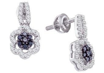 WOMENS .35 CARAT BLACK DIAMOND DANGLE EARRINGS ROUND CUT PAVE WHITE GOLD