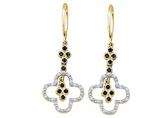 WOMENS .16 CARAT BLACK DIAMOND DANGLE EARRINGS ROUND CUT PAVE YELLOW GOLD